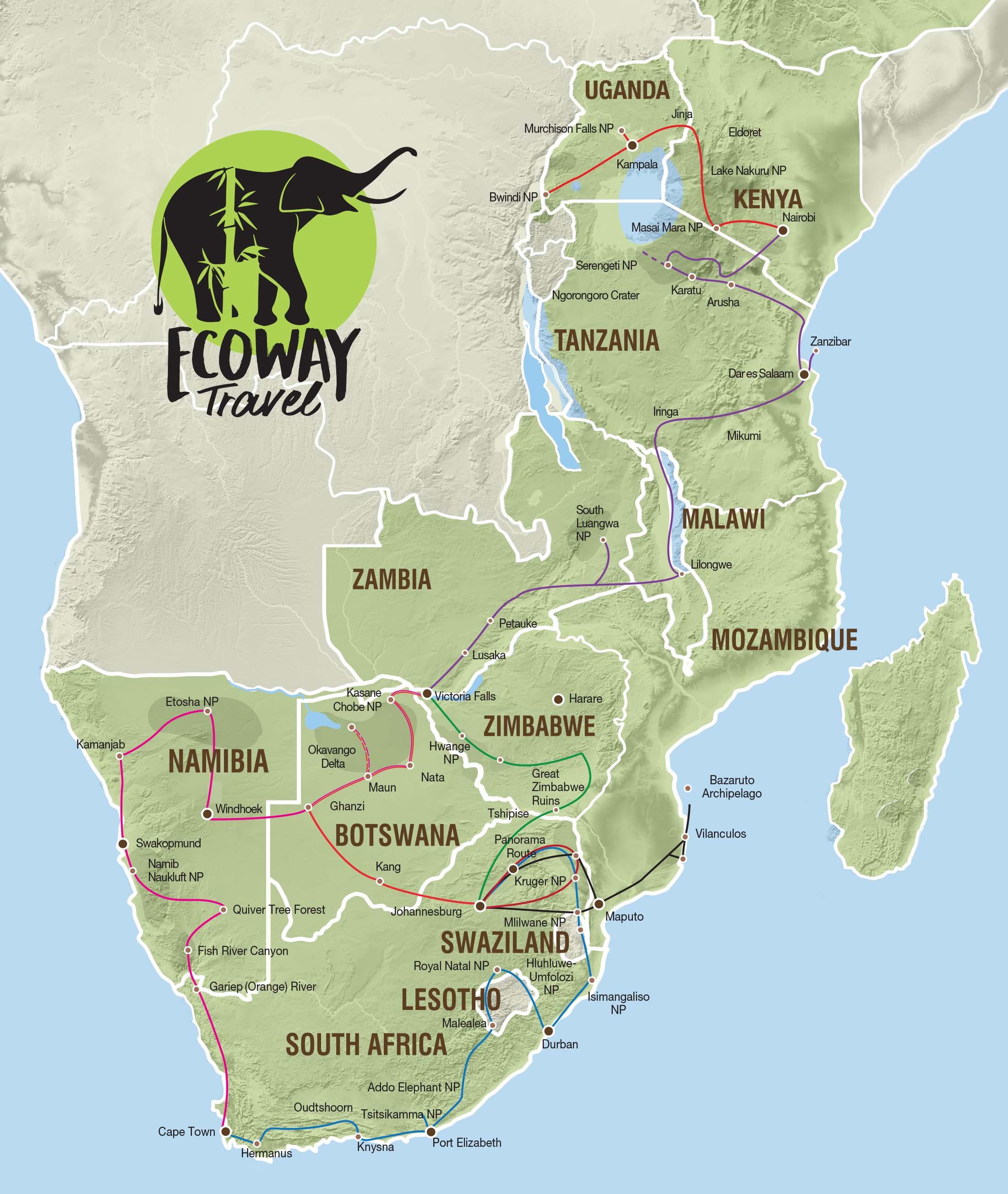mappa viaggi avventura in africa